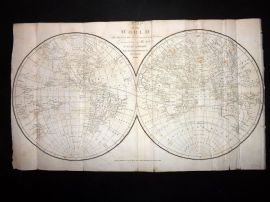 Pelham & Russell 1820 Antique Map of the World. Latest Discoveries, Hemispheres